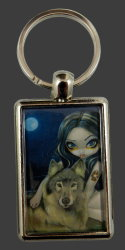 Red Riding Hood In Autumn Keyring
