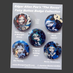 "Edgar Allen Poe's ""The Raven"" Badge Set"